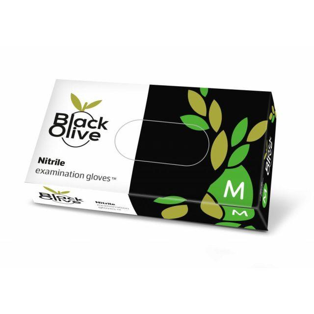 DOMAN BLACK OLIVE Rękawice czarne M nitrylowe 100szt.  (bezpudrowe)